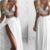 chiffon prom dress, two pieces prom dress, simple white chiffon long prom dress