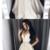 v-neck long prom dress ivory a-line satin evening dress,prom dress,F1938
