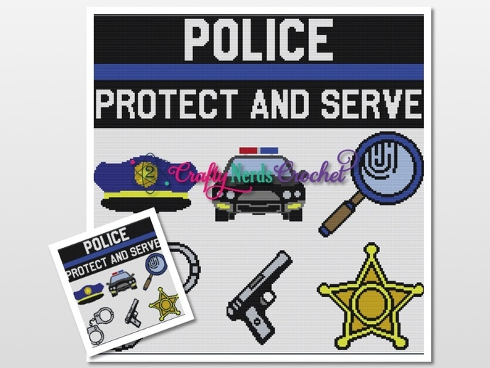 Police Cal Small Bundle Pattern Graph With Single Crochet Written