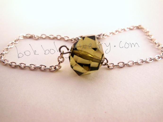 Handmade Faux Crystal Bead Chain Bracelet - Olive Green, Earthy Mossy Green -