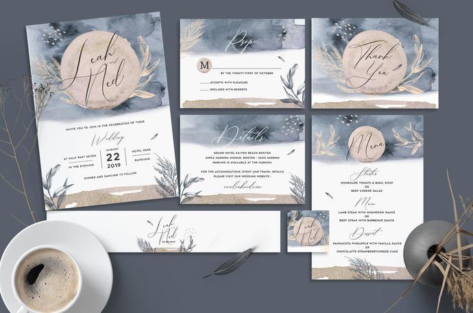 Watercolor Wedding Invitation, Watercolor Wedding Suite 30