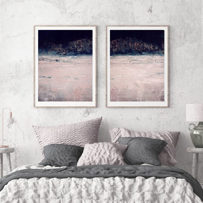 Digital print, blush pink navy set of 2 ,wall art abstract, landscape diptych,