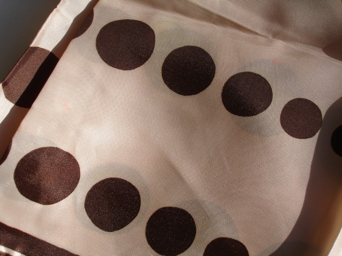 Vera Neumann Light Brown With Dark Brown Polka Dot Scarf With Ladybug