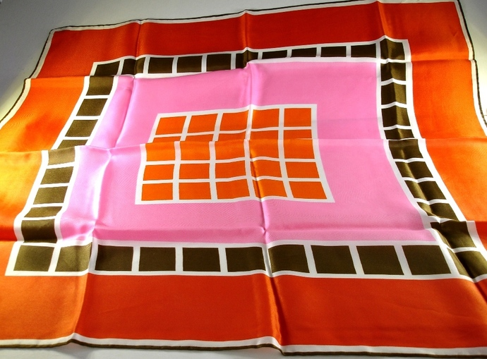 Vera Neumann Orange Brown Pink And White Mosaic Tile Design Scarf
