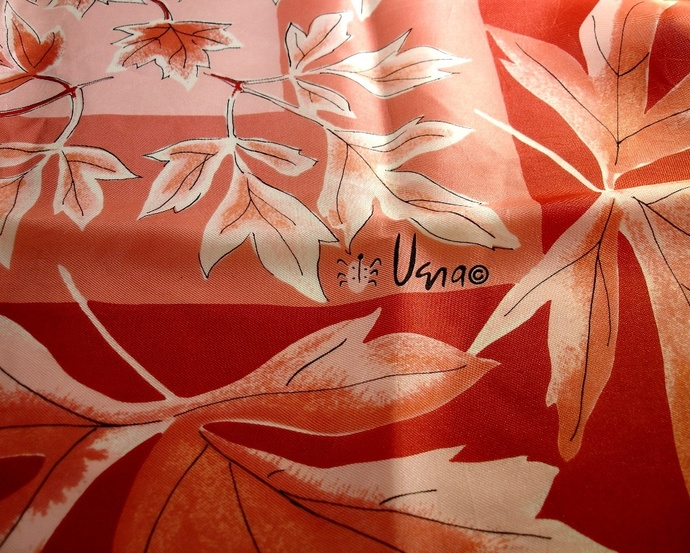 Vera Neumann Rust Peach And White Fall Leaves Scarf With Ladybug