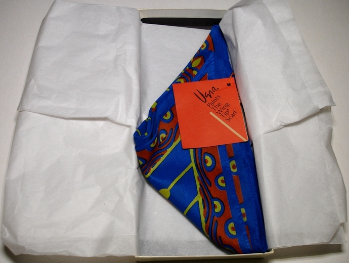 Vera Neumann Blue Orange And Yellow Wing Tip Scarf New In Box