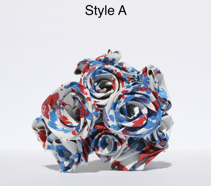 Abstract Red White and Blue Roses One Dozen Natural Palmetto Leaf Roses that