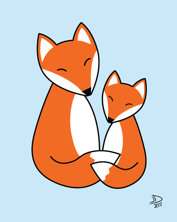 Fox Hugs Digital Illustration on Blue Background, Printable Instant Download