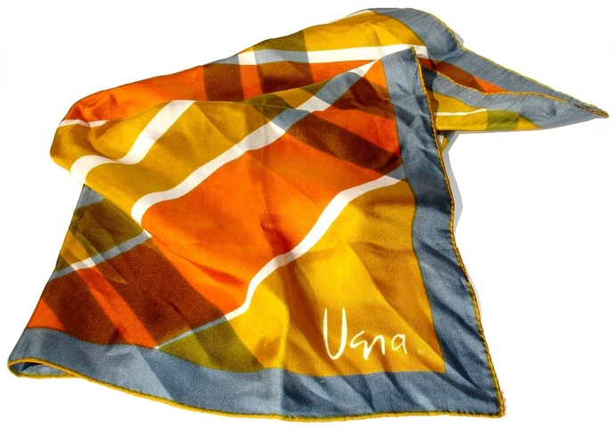 Vera Neumann Gold Gray Orange And White Geometric Vintage Scarf