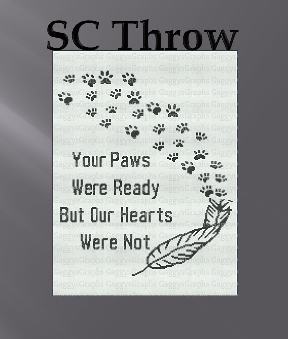 Paws Ready, SC Throw w/ graph+written block coded instructions