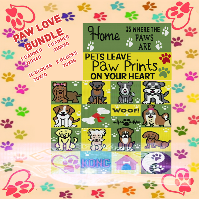 Lobby Pet CAL Bundle - Puppy Love SC Bundle of 19 Patterns w Graphs &