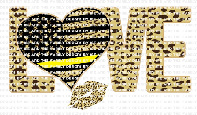 Love heart cheetah yellow line, kiss, lips, represents police dispatchers, fire