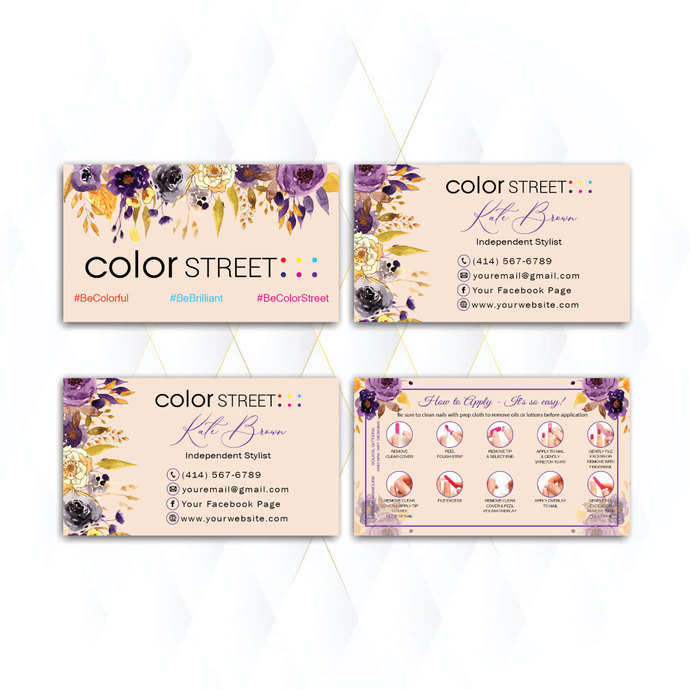 RUSTIC COLOR STREET BUSINESS CARDS, PERSONALIZED COLOR STREET APPLICATION CARDS
