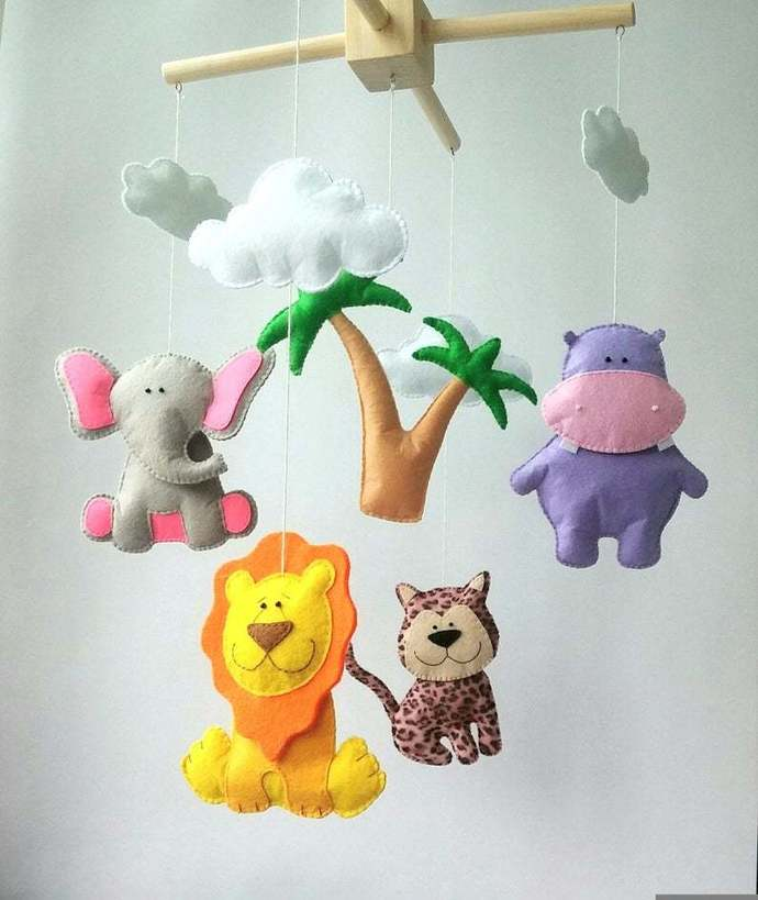 African animals baby crib mobile nursery