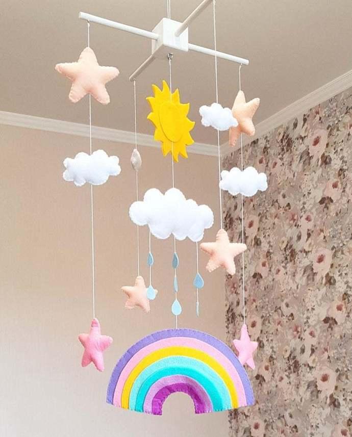 Rainbow nursery mobile crib baby sun clouds