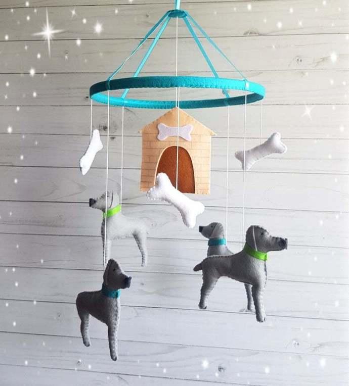 Dog baby crib mobile weimaraners Nursery felt Animals
