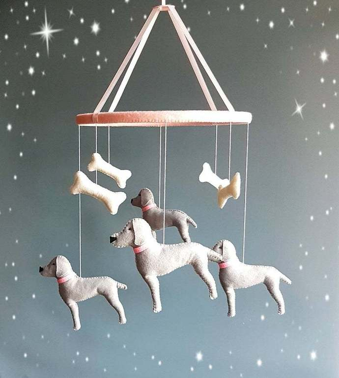 Dog baby mobile pink grey girl crib mobile