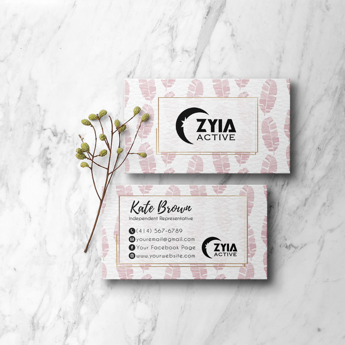 Personalized Zyia Active Business Cards, Pink Leaves Zyia Business ZA04