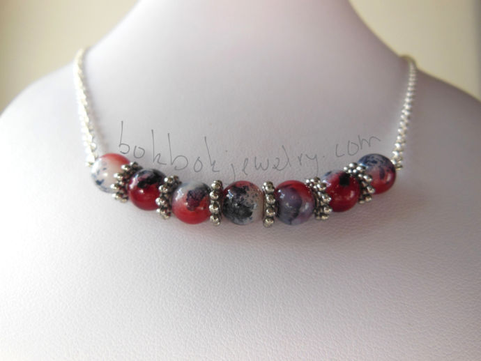Two Tone Red and Purple Necklace and Earring Set