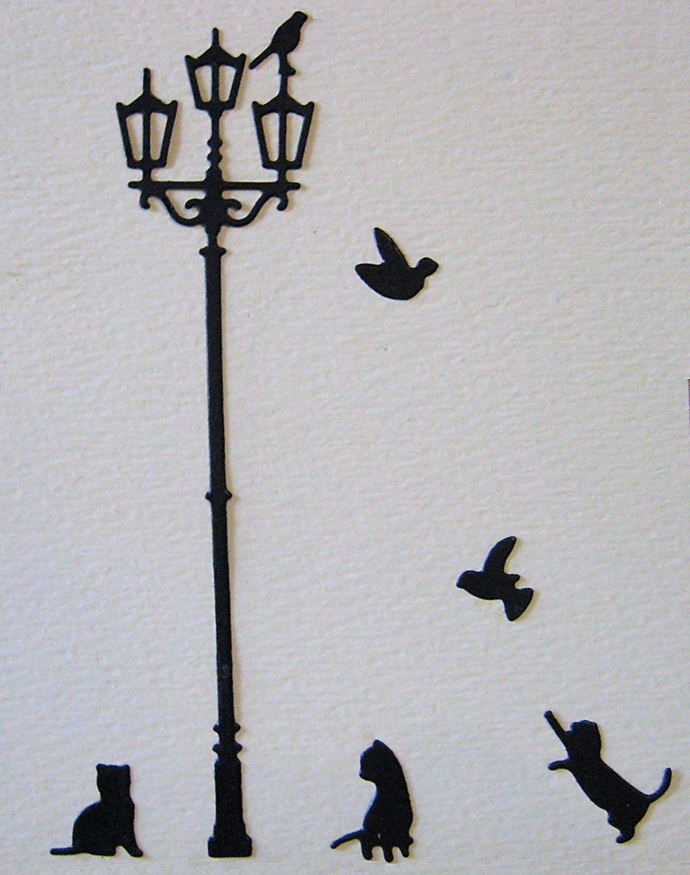 Lamp Post, Cats and Birds Cutting Die Set