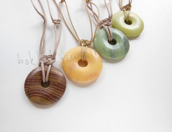 Handmade Gemstone Donut Adjustable Necklace