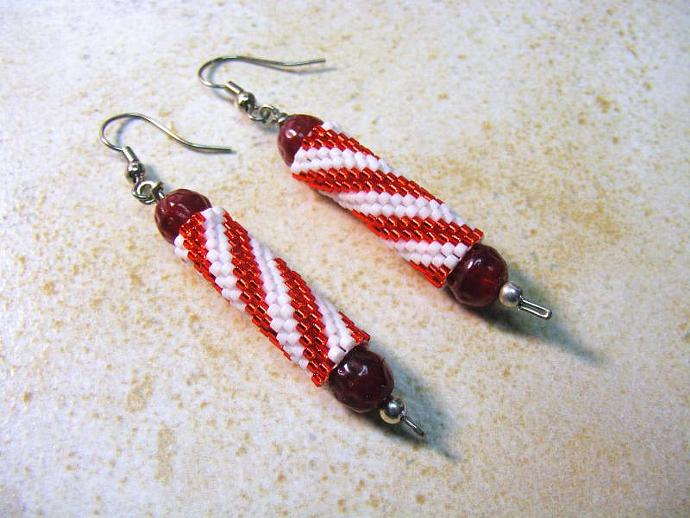 Christmas Stick Candy Peyote Stitch Earring