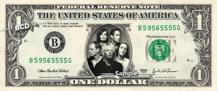 RADIOHEAD Band - Real Dollar Bill Cash Money Collectible Memorabilia Celebrity