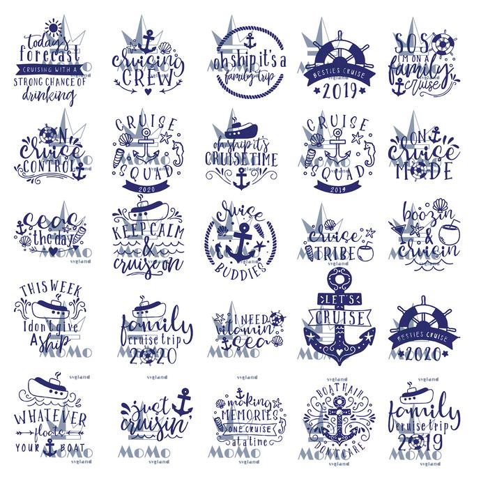 Cruise Svg Bundle, 25 Svg Cruise Ship Boat Anchor Svg, Cruise Squad Crew Shirt,