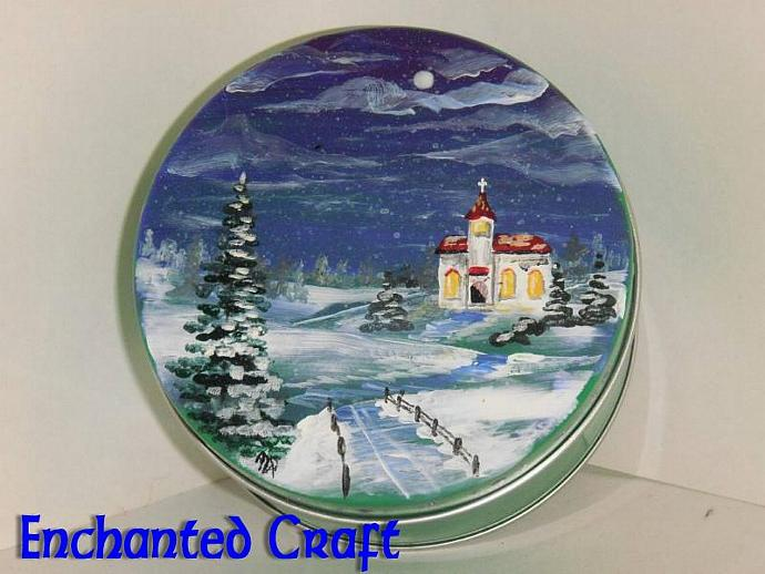 Winter Night Church Gift Tin