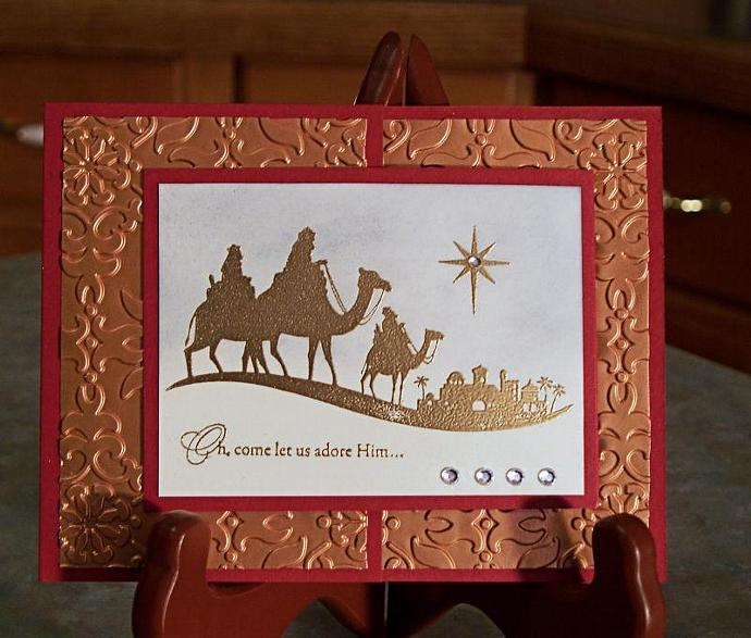 Handmade foil embossed christmas card stampin whimsyart handmade foil embossed christmas card stampin up come to bethlehem m4hsunfo