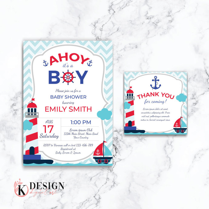 Nautical Baby Shower Invitation, Boy Shower Invitations, Baby Shower Invite BS26