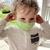 Child Fabric Face Mask - Green Brush Strokes