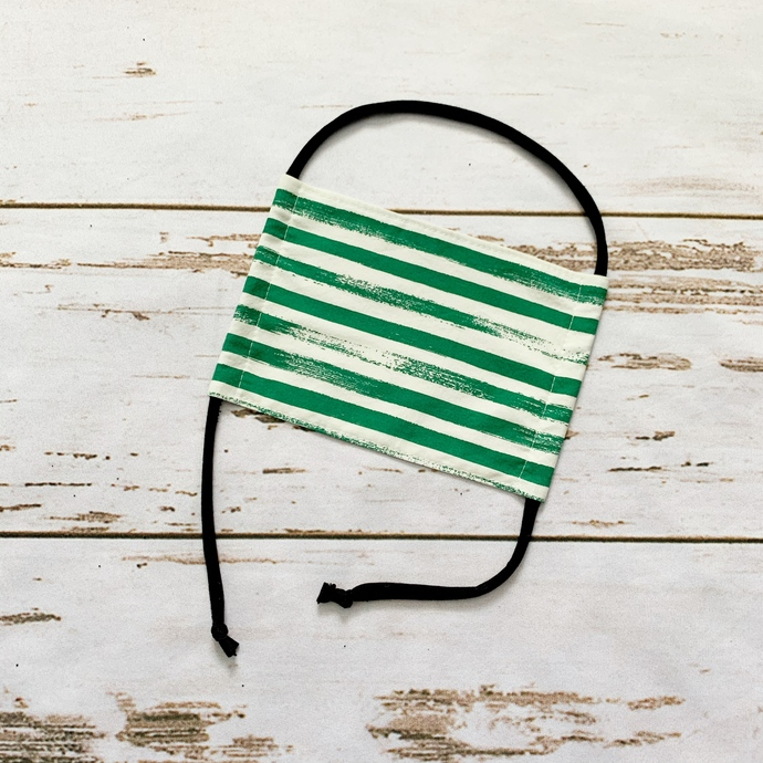 Adult Fabric Face Mask - Green Brush Strokes