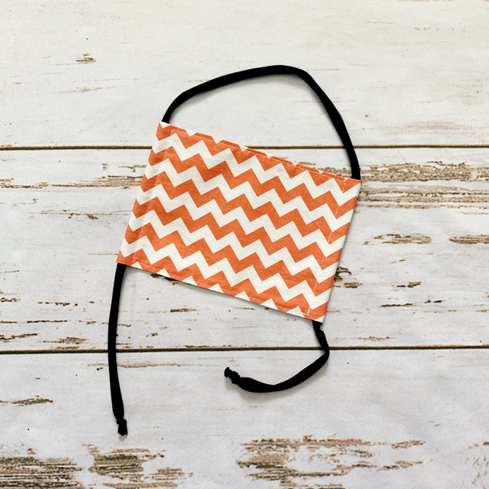 Adult Fabric Face Mask - Coral Chevron