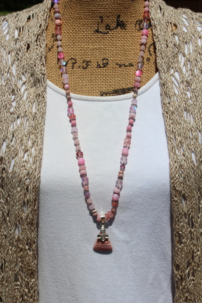 So Pretty in Pink Natural Rhodochrosite Long Beaded Necklace with Pendant Hand
