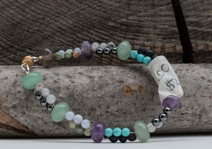 Double Strand: Amethyst, Rhyolite, Blue Lace, Hematite, Quartz, Aventurine,