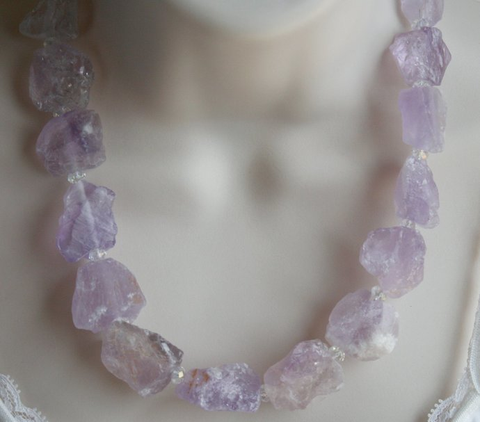 Raw Amethyst Quartz Statement Necklace, Chunky Natural Rough Pink Stone Jewelry,