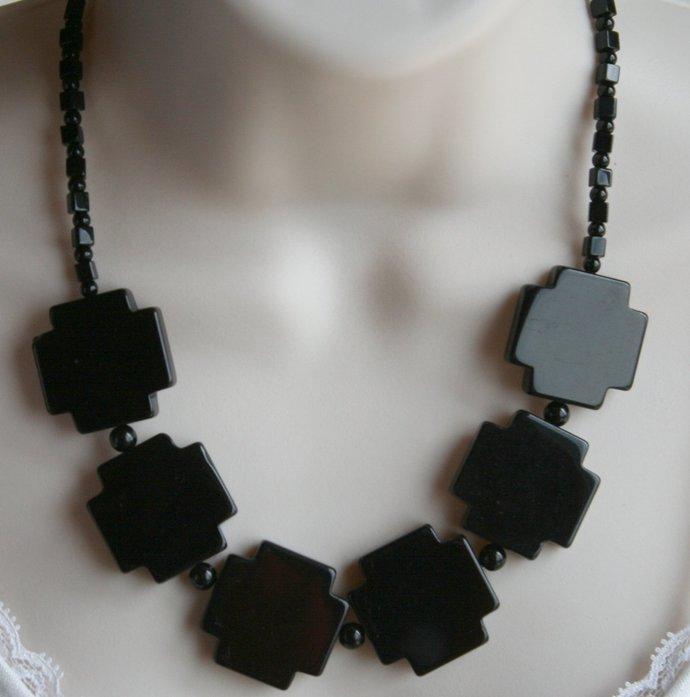 Black Onyx Large Cross Bead Statement Necklace, Chunky Big Black Cross Necklace,