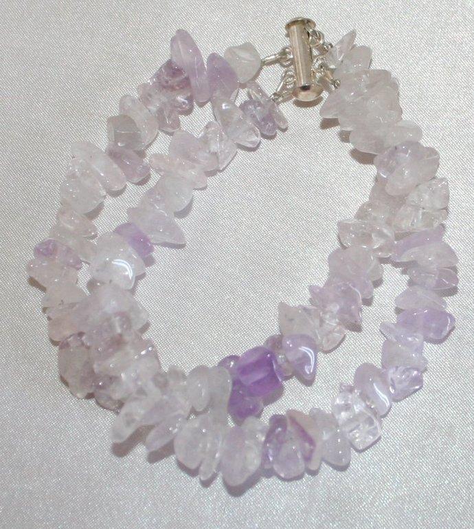 Light Amethyst Double Strand Bracelet, Gemstone Chip Bracelet