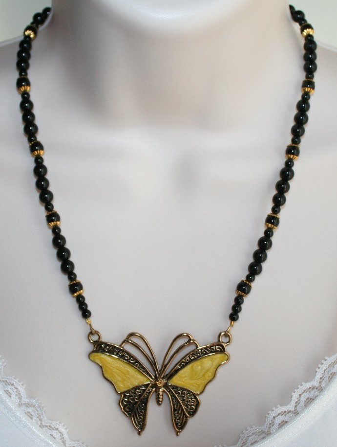 Black Onyx Butterfly Pendant Necklace, Black and Gold Beaded Necklace, Enamel