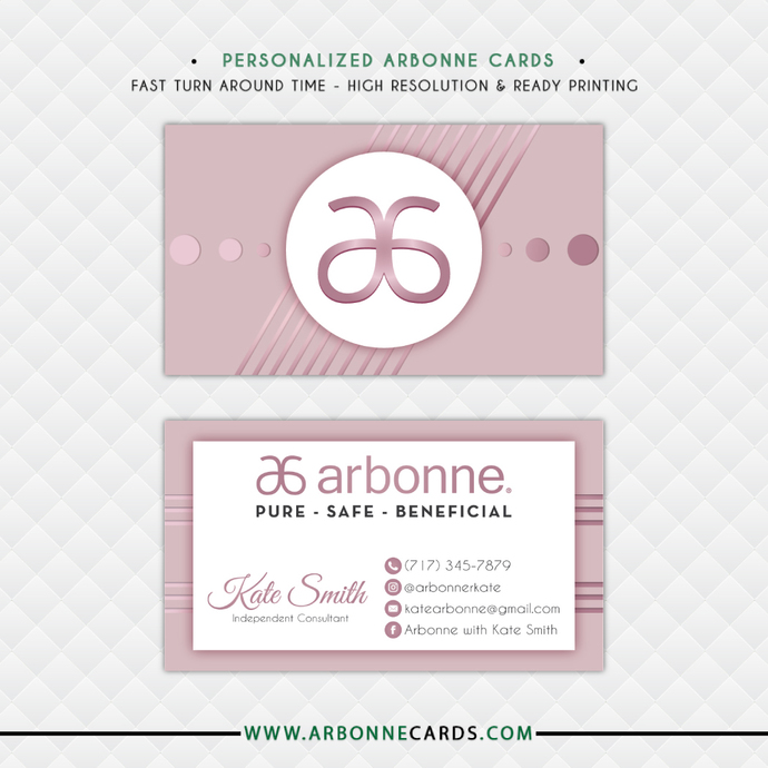Arbonne Business Cards, Personalized Arbonne Business Card, Green Arbonne