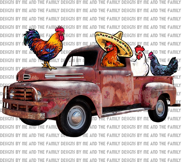 Old truck with crazy chickens, Add your own text, buckle up butter cup you just