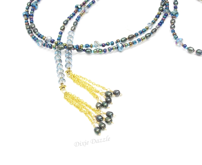 Wrap necklace, long lariat necklace with gold tassels, blue and purple beaded