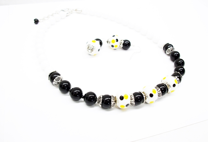 Bumble bee necklace with black onyx and lampwork beads with yellow and black