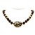 Black onyx semiprecious stone beaded necklace with a blue and brown glass