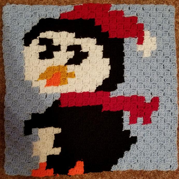 Penguin Crochet Pattern Throw Pillow PDF Graph Row by Row Written Color Block