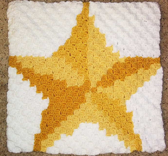 Christmas Star Crochet Pattern Throw Pillow PDF Graph Row by Row Written Color