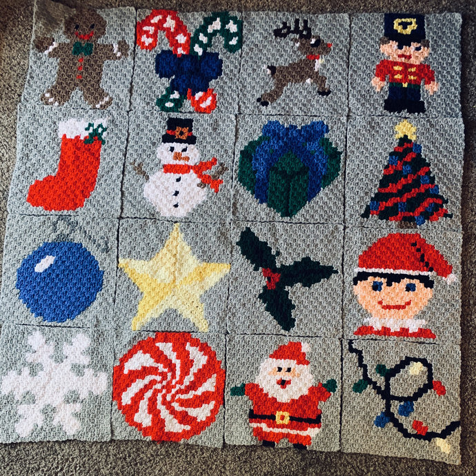 Snowman Winter Christmas Crochet Pattern Throw Pillow PDF Graph Row by Row