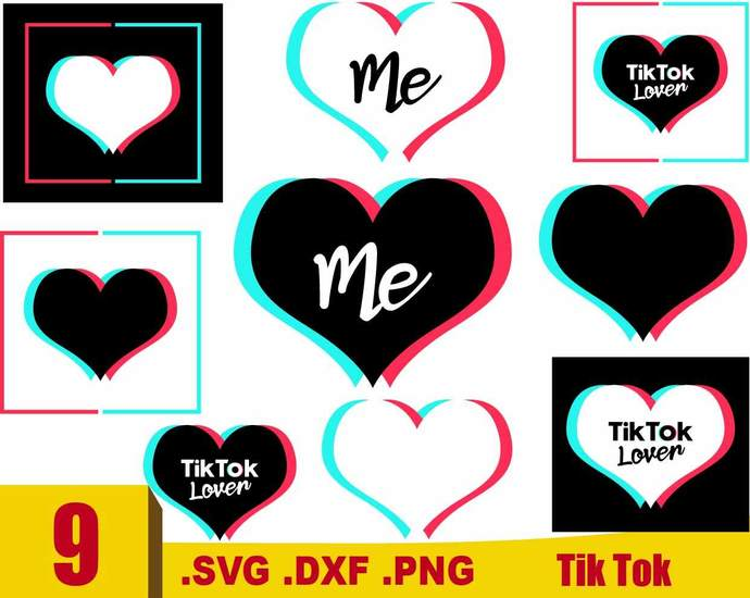Tik Tok Heart Svg Tik Tok Heart Heart Cut By Rhinodigital On Zibbet