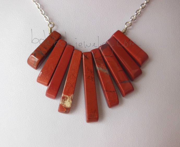 Handmade Red Jasper and Silver Jewelry Set - Necklace and Earrings